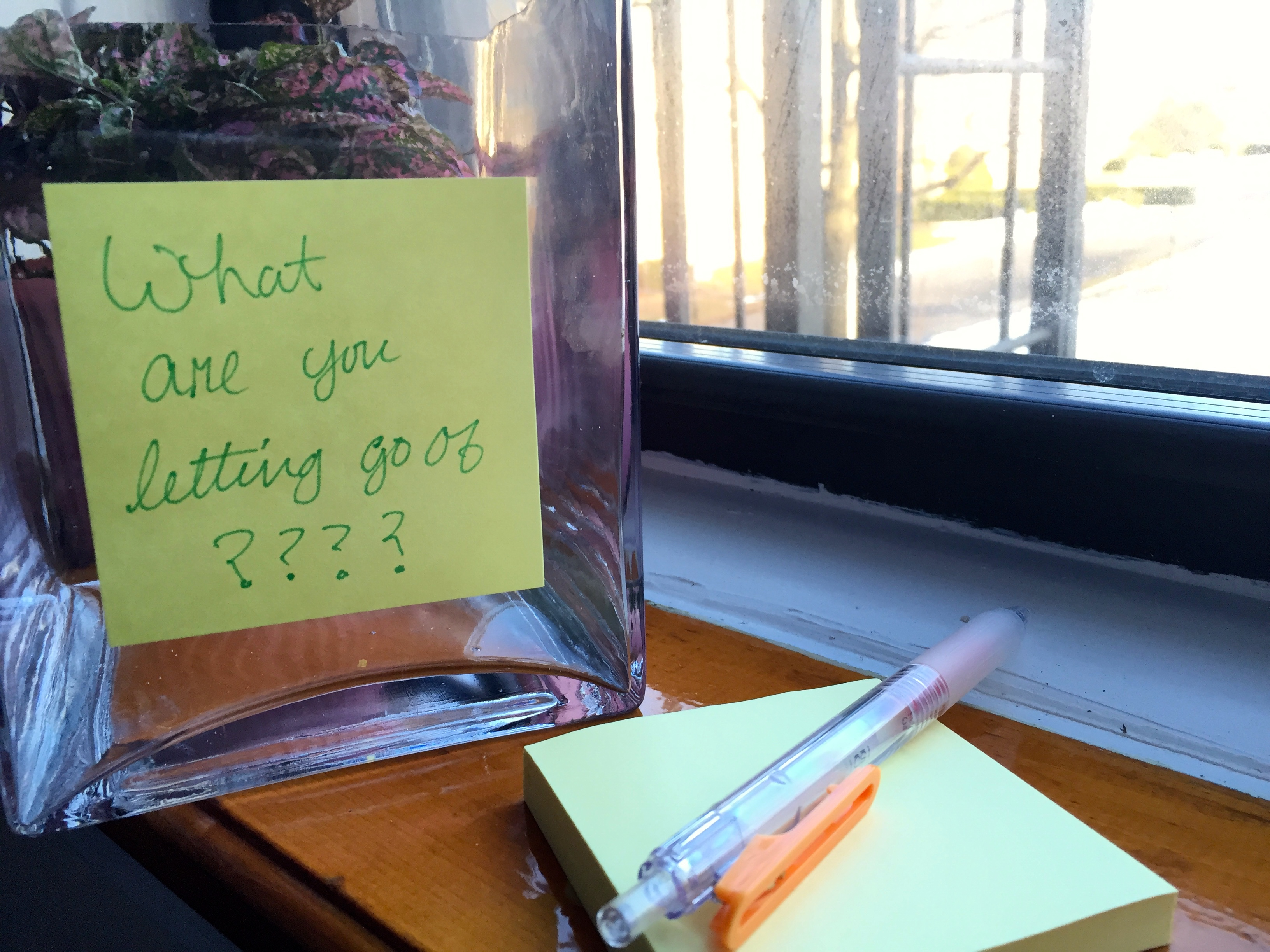 what are you letting go of? A jar for putting your thoughts and journal ideas.