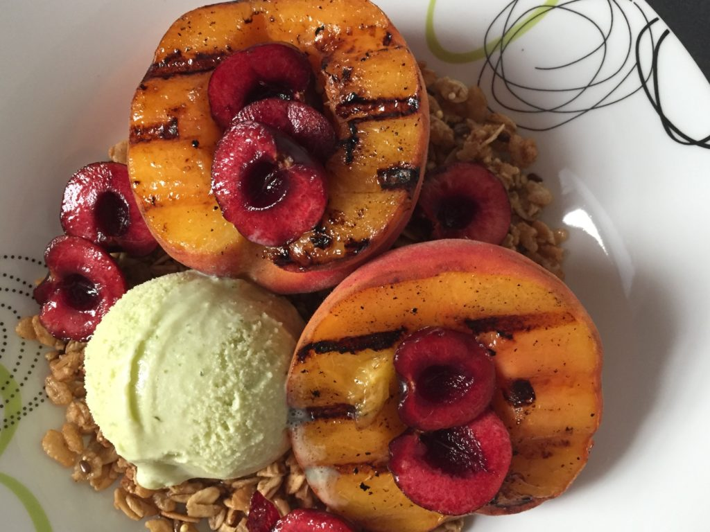 Grilled Peaches with Cinnamon Basil Ice Cream recipe
