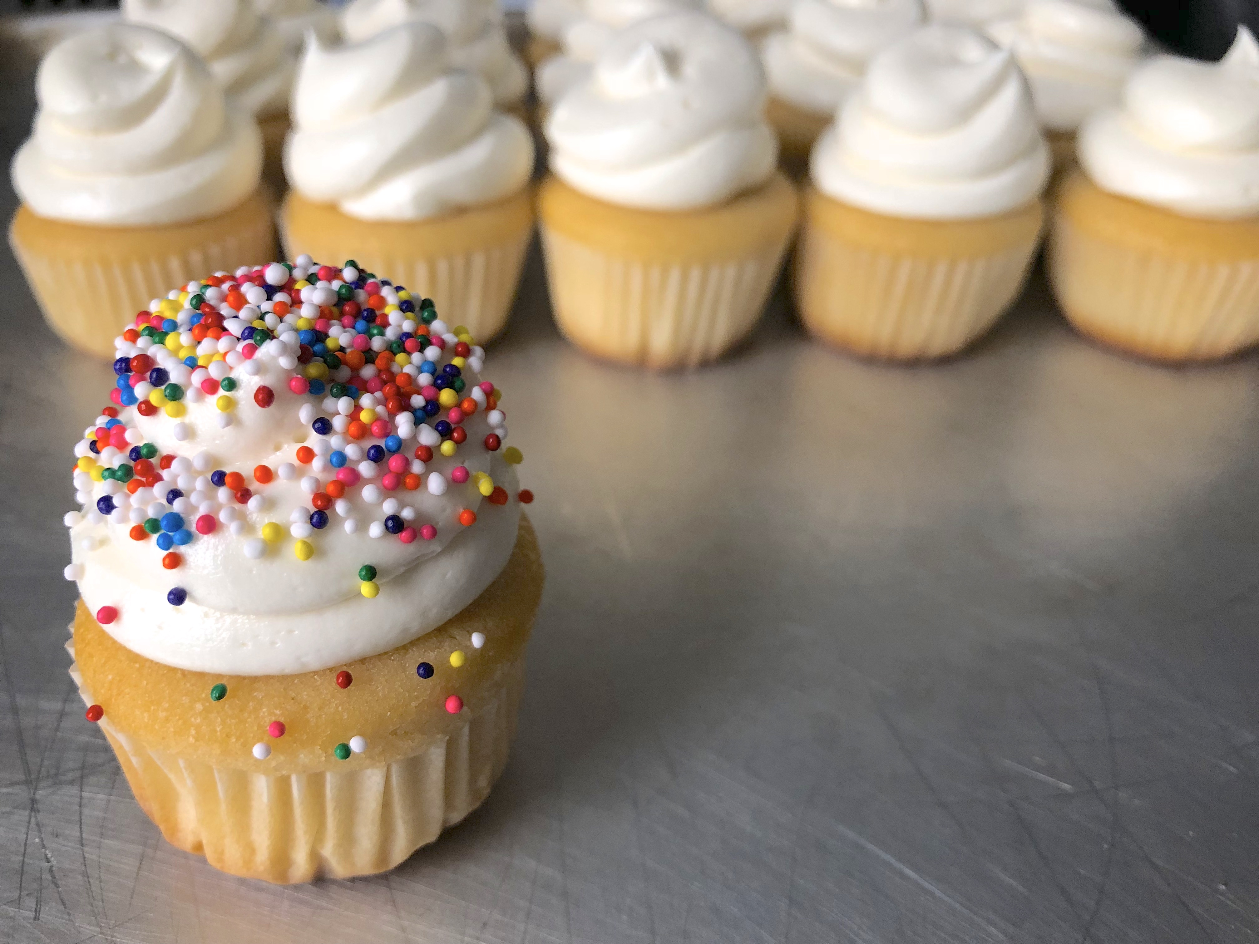 vanilla cupcake with vanilla frosting and sprinkles